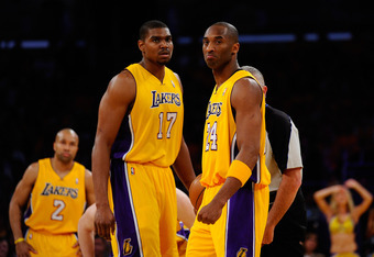 LOS ANGELES, CA - MAY 02:  Andrew Bynum #17 and Kobe Bryant #24 of the Los Angeles Lakers stand on the court before taking on the Dallas Mavericks in Game One of the Western Conference Semifinals in the 2011 NBA Playoffs at Staples Center on May 2, 2011 i