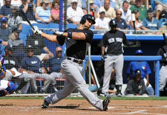 DUNEDIN, FL - MARCH 8:  Outfielder Raul Ibanez #27 of the New York Yankees bats against the Toronto Blue Jays  March 8, 2012 at Florida Auto Exchange Stadium in Dunedin, Florida. (Photo by Al Messerschmidt/Getty Images)