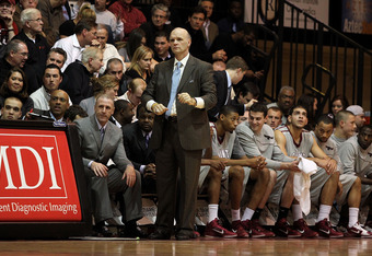 PHILADELPHIA, PA - DECEMBER 08:  Head coach Phil Martelli of the St. Joseph's Hawks coaches against the Minnesota Golden Gophers at Michael J. Hagan Arena on December 8, 2010 in Philadelphia, Pennsylvania.  (Photo by Chris Chambers/Getty Images)