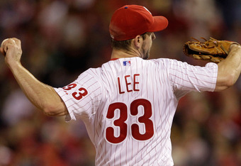 PHILADELPHIA, PA - OCTOBER 02:  Cliff Lee #33 of the Philadelphia Phillies throws a pitch against the St. Louis Cardinals in Game Two of the National League Division Series at Citizens Bank Park on October 2, 2011 in Philadelphia, Pennsylvania.  (Photo by