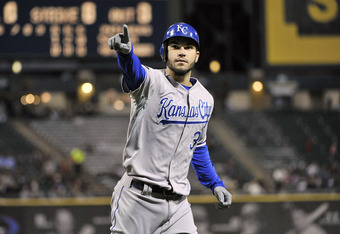 CHICAGO, IL - SEPTEMBER 23:  Eric Hosmer #35 of the Kansas City Royals points to the crowd after hitting a solo home run during the second inning against the Chicago White Sox at U. S. Cellular Field on September 23, 2011 in Chicago.   (Photo by Brian Ker