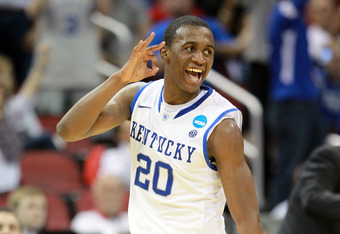 LOUISVILLE, KY - MARCH 15:  Doron Lamb #20 of the Kentucky Wildcats reacts after he made a 3-point shot in the first half against the Western Kentucky Hilltoppers during the second round of the 2012 NCAA Men's Basketball Tournament at KFC YUM! Center on M