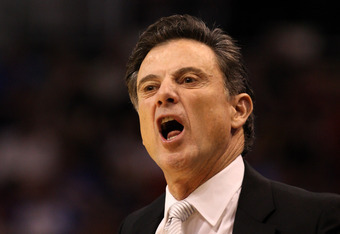 PHOENIX, AZ - MARCH 24:  Head coach Rick Pitino of the Louisville Cardinals reacts in the first half while taking on the Florida Gators during the 2012 NCAA Men's Basketball West Regional Final at US Airways Center on March 24, 2012 in Phoenix, Arizona.