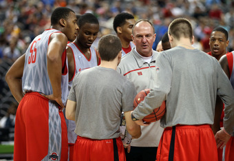 NEW ORLEANS, LA - MARCH 30:  Head coach Thad Matta of the Ohio State Buckeyes talks to his team during practice prior to the 2012 Final Four of the NCAA Division I Men's Basketball Tournament at the Mercedes-Benz Superdome on March 30, 2012 in New Orleans