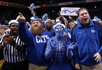 LEXINGTON, KY - DECEMBER 3: Kentucky Wildcats fans cheer during the game against the North Carolina Tar Heels at Rupp Arena on December 3, 2011 in Lexington, Kentucky. Kentucky won 73-72. (Photo by Joe Robbins/Getty Images)