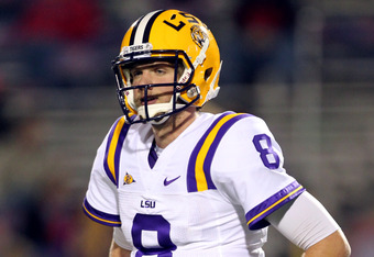 OXFORD, MS - NOVEMBER 19: Zach Mettenberger #8 of the LSU Tigers looks to the sideline against the Ole Miss Rebels on November 19, 2011 at Vaught-Hemingway Stadium in Oxford, Mississippi. LSU beat Mississippi 52-3. (Photo by Joe Murphy/Getty Images)