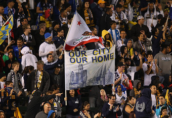 CARSON, CA - MARCH 31:  A general view of a fan filled stadium as the Los Angeles Galaxy take on the New England Revolution during the MLS match at The Home Depot Center on March 31, 2012 in Carson, California.  (Photo by Joe Scarnici/Getty Images)