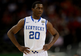 NEW ORLEANS, LA - MARCH 31:  Doron Lamb #20 of the Kentucky Wildcats looks on while taking on the Louisville Cardinals during the National Semifinal game of the 2012 NCAA Division I Men's Basketball Championship at the Mercedes-Benz Superdome on March 31,