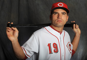 GOODYEAR, AZ - FEBRUARY 25:  Joey Votto #19 of the Cincinnati Reds poses for a portrait during a photo day at Goodyear Ballpark on February 25, 2012 in Goodyear, Arizona. (Photo by Rich Pilling/Getty Images)