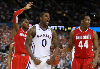 NEW ORLEANS, LA - MARCH 31:  Thomas Robinson #0 of the Kansas Jayhawks reacts in the second half while taking on the Ohio State Buckeyes during the National Semifinal game of the 2012 NCAA Division I Men's Basketball Championship at the Mercedes-Benz Supe