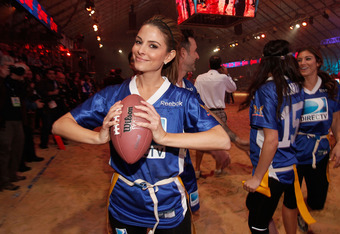 INDIANAPOLIS, IN - FEBRUARY 04:  Actress Maria Menounos poses on the field during DIRECTV's Sixth Annual Celebrity Beach Bowl Game at Victory Field on February 4, 2012 in Indianapolis, Indiana.  (Photo by Christopher Polk/Getty Images for DirecTV)