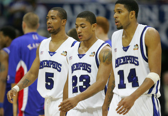 SAN ANTONIO - APRIL 07:  Chris Douglas-Roberts #14, Derrick Rose #23 and Antonio Anderson #5 of the Memphis Tigers walk off the court in the second half against the Kansas Jayhawks during the 2008 NCAA Men's National Championship game at the Alamodome on