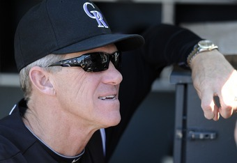 DENVER, CO - SEPTEMBER 10: Jim Tracy #4 of the Colorado Rockies looks on during a game against the Cincinnati Reds at Coors Field on September 10, 2011 in Denver, Colorado.  (Photo by Jack Dempsey/Getty Images)