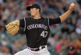 DENVER, CO - SEPTEMBER 17:  Starting pitcher Drew Pomeranz #47 of the Colorado Rockies delivers against the San Francisco Giants at Coors Field on September 17, 2011 in Denver, Colorado.  (Photo by Doug Pensinger/Getty Images)