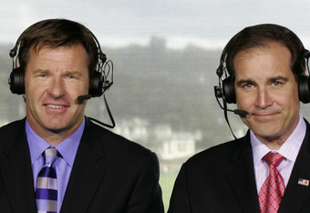 Sir Nick Faldo and Jim Nantz on the 18th tower all four days
