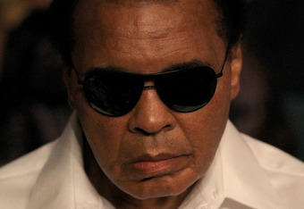 LAS VEGAS - MAY 01:  Boxing legend Muhammad Ali attends the Floyd Mayweather Jr. and Shane Mosley welterweight fight at the MGM Grand Garden Arena on May 1, 2010 in Las Vegas, Nevada.  (Photo by Jed Jacobsohn/Getty Images)