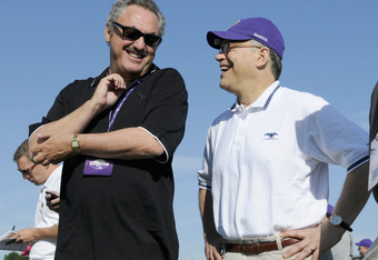 MANKATO, MN - AUGUST 4: Owner Zygi Wilf (L) of the Minnesota Vikings speaks with U.S. Sen. Al Franken (D-MN) during training camp at Minnesota State University on August 4, 2011 in Mankato, Minnesota. (Photo by Hannah Foslien/Getty Images)