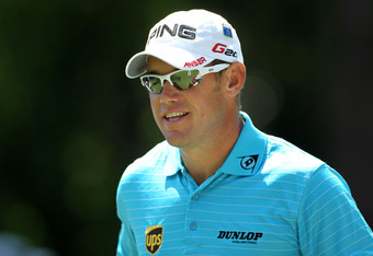 AUGUSTA, GA - APRIL 04: Lee Westwood of England smiles during the Par 3 Contest prior to the start of the 2012 Masters Tournament at Augusta National Golf Club on April 4, 2012 in Augusta, Georgia.  (Photo by Jamie Squire/Getty Images)
