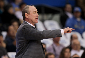 LOS ANGELES, CA - MARCH 01:  Head coach Ben Howland of the UCLA Bruins gives instructions during the game with the Washington State Cougars at the LA Sports Arena on March 1, 2012 in Los Angeles, California.  (Photo by Stephen Dunn/Getty Images)