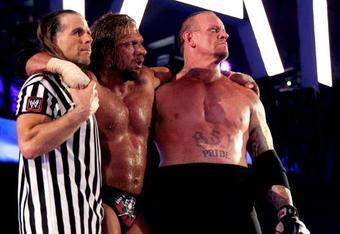 In a WrestleMania Moment that'll live on forever, three Legends (Shawn Michaels, Triple H & Undertaker) exit together