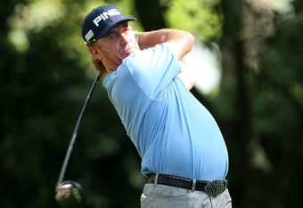 AUGUSTA, GA - APRIL 05:  Miguel Angel Jimenez of Spain hits a tee shot on the second hole during the first round of the 2012 Masters Tournament at Augusta National Golf Club on April 5, 2012 in Augusta, Georgia.  (Photo by Andrew Redington/Getty Images)