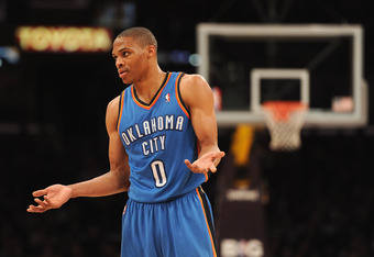 LOS ANGELES, CA - MARCH 29:  Russell Westbrook #0 of the Oklahoma City Thunder reacts after a foul to his teammate during the game against the Los Angeles Lakers at Staples Center on March 29, 2012 in Los Angeles, California.  NOTE TO USER: User expressly