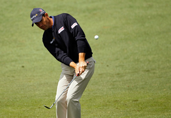 AUGUSTA, GA - APRIL 06:  Padraig Harrington of Ireland chips onto the second green during the second round of the 2012 Masters Tournament at Augusta National Golf Club on April 6, 2012 in Augusta, Georgia.  (Photo by Streeter Lecka/Getty Images)
