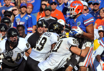 GAINESVILLE, FL -  NOVEMBER 5:  Tight end Jordan Reed #11 of the Florida Gators grabs an onside kick in the fourth quarter against the Vanderbilt Commodores November 5, 2011 at Ben Hill Griffin Stadium in Gainesville, Florida.  The Gators won 26 - 21. (Ph