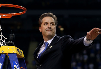 NEW ORLEANS, LA - APRIL 02:  Head coach John Calipari celebrates as he cuts down the net after the Wildcats defeat the Kansas Jayhawks 67-59 in the National Championship Game of the 2012 NCAA Division I Men's Basketball Tournament at the Mercedes-Benz Sup