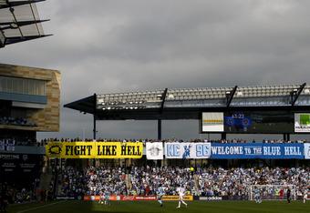 KANSAS CITY, KS - APRIL 7:  The Los Angeles Galaxy play against Sporting Kansas City at Livestrong Sporting Park on April 7, 2012 in Kansas City, Kansas. Sporting won 1-0. (Photo by Ed Zurga/Getty Images)