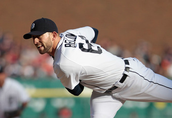 DETROIT, MI - APRIL 07: Duane Below #64 of the Detroit Tigers pitches in the fifth inning during the game against the Boston Red Sox in the fifth inning during the game against the Boston Red Sox at Comerica Park on April 7, 2012 in Detroit, Michigan. The
