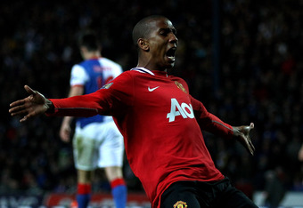 BLACKBURN, ENGLAND - APRIL 02:  Ashley Young of Manchester United celebrates scoring his team's second goal during the Barclays Premier League match between Blackburn Rovers and Manchester United at Ewood Park on April 2, 2012 in Blackburn, England.  (Pho