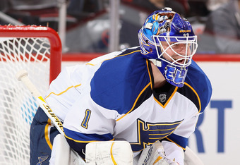 GLENDALE, AZ - MARCH 25:  Goaltender Brian Elliott #1 of the St Louis Blues in action during the NHL game against the Phoenix Coyotes at Jobing.com Arena on March 25, 2012 in Glendale, Arizona. The Blues defeated the Coyotes 4-0.  (Photo by Christian Pete