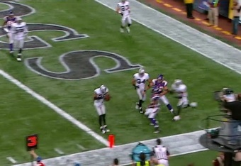 Ponder throws it in heavy traffic, resulting in an interception.