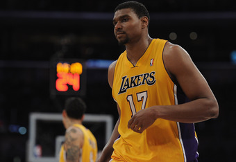 LOS ANGELES, CA - APRIL 06:  Andrew Bynum #17 of the Los Angeles Lakers leaves the game after fouling out of the game with his second technical foul against the Houston Rockets during the second half at Staples Center on April 6, 2012 in Los Angeles, Cali