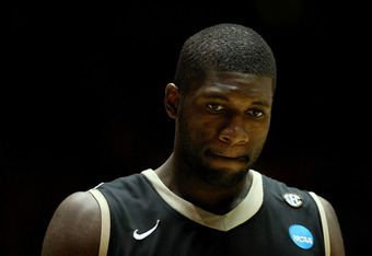ALBUQUERQUE, NM - MARCH 17:  Festus Ezeli #3 of the Vanderbilt Commodores reacts in the second half of the game against the Wisconsin Badgers during the third round of the 2012 NCAA Men's Basketball Tournament at The Pit on March 17, 2012 in Albuquerque,
