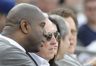 SAN DIEGO, CA - APRIL 5 : Magic Johnson (L) sits with Frank McCourt during the game between the Los Angeles Dodgers and the San Diego Padres in the home opener at Petco Park on April 5, 2012 in San Diego, California.  (Photo by Denis Poroy/Getty Images)