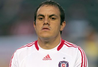 CARSON - MAY 28:  Cuauhtemoc Blanco #10 of the Chicago Fire stands in the lineup before the MLS match against the Chivas USA at The Home Depot Center on May 28, 2009 in Carson, California. (Photo by: Victor Decolongon/Getty Images)