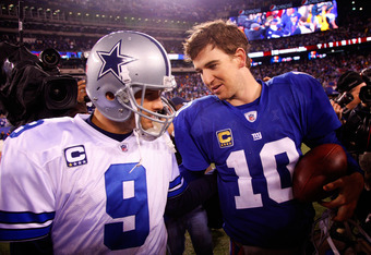 EAST RUTHERFORD, NJ - JANUARY 01:   Tony Romo #9 of the Dallas Cowboys and  Eli Manning #10 of the New York Giants greet each other after their game at MetLife Stadium on January 1, 2012 in East Rutherford, New Jersey.  (Photo by Jeff Zelevansky/Getty Ima