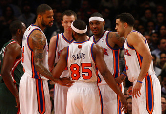 NEW YORK, NY - MARCH 26:  (L-R) Tyson Chandler, Steve Novak #16, Baron Davis #85, Carmelo Anthony #7 and Landry Fields #2 of the New York Knicks at Madison Square Garden on March 26, 2012 in New York City. NOTE TO USER: User expressly acknowledges and agr