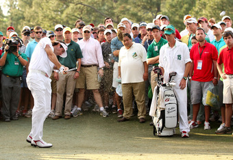 AUGUSTA, GA - APRIL 08:  Bubba Watson of the United States hits out of the rough on the 17th hole during the final round of the 2012 Masters Tournament at Augusta National Golf Club on April 8, 2012 in Augusta, Georgia.  (Photo by Andrew Redington/Getty I