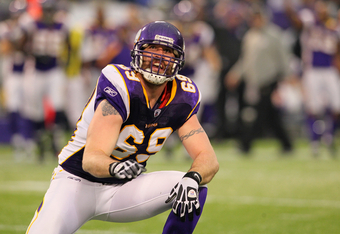 MINNEAPOLIS, MN - JANUARY 01:   Jared Allen #69 of the Minnesota Vikings celebrates his sack Josh McCown #15 of the Chicago Bears to set a franchise record of 22 sacks for the season at the Hubert H. Humphrey Metrodome on January 01, 2012 in Minneapolis,