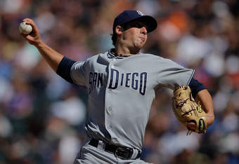 DENVER, CO - SEPTEMBER 21:  Starting pitcher Anthony Bass #45 of the San Diego Padres works the sixth inning against the Colorado Rockies at Coors Field on September 21, 2011 in Denver, Colorado. The Padres defeated the Rockies 4-0.  (Photo by Justin Edmo