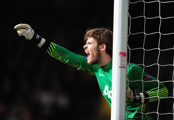 NORWICH, ENGLAND - FEBRUARY 26:  David De Gea of Manchester United in action during the Barclays Premier League match between Norwich City and Manchester United at Carrow Road on February 26, 2012 in Norwich, England.  (Photo by Jamie McDonald/Getty Image