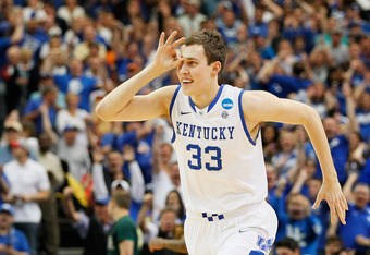 ATLANTA, GA - MARCH 25:  Kyle Wiltjer #33 of the Kentucky Wildcats celebrates hitting a three-pointer in the first half during the 2012 NCAA Men's Basketball South Regional Final at the Georgia Dome on March 25, 2012 in Atlanta, Georgia.  (Photo by Kevin