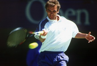 22 JAN 1994:  THREE-TIMES CHAMPION MATS WILANDER FROM SWEDEN PREPARES TO HIT A RETURN DURING HIS SECOND ROUND MATCH AGAINST ALEXANDER MRONZ. WILANDER RECOVERED FROM TWO SETS DOWN TO WIN THE MATCH 4-6, 5-7, 6-3, 6-4, 6-3 IN FOUR HOURS AND 18 MINUTES. Manda
