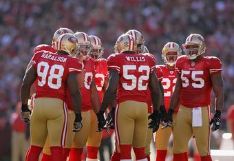 SAN FRANCISCO, CA - DECEMBER 04:  Patrick Willis #52 of the San Francisco 49ers talks to his team during their game against the St. Louis Rams at Candlestick Park on December 4, 2011 in San Francisco, California.  (Photo by Ezra Shaw/Getty Images)