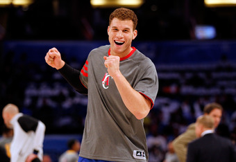 ORLANDO, FL - FEBRUARY 24:  Blake Griffin of the Los Angeles Clippers and Team jokes aorund on the court during the BBVA Rising Stars Challenge part of the 2012 NBA All-Star Weekend at Amway Center on February 24, 2012 in Orlando, Florida.  NOTE TO USER: