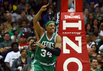 NEWARK, NJ - APRIL 14:  Paul Pierce #34 of the Boston Celtics reacts after he made a 2-point basket in the second half against the New Jersey Nets at Prudential Center on April 14, 2012 in Newark, New Jersey. NOTE TO USER: User expressly acknowledges and