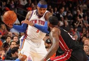 LeBron James cooled Carmelo Anthony off in the fourth quarter. (Nathaniel S. Butler/NBAE via Getty Images)